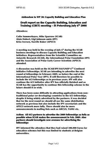 SCAR XXX WP30ii: Draft Report on the Capacity Building, Education and Training (CBET) Meeting, St Petersburg, July 2008