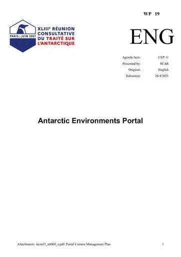 WP019: Antarctic Environments Portal