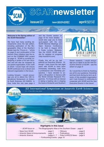 SCAR Newsletter 37 - April 2015