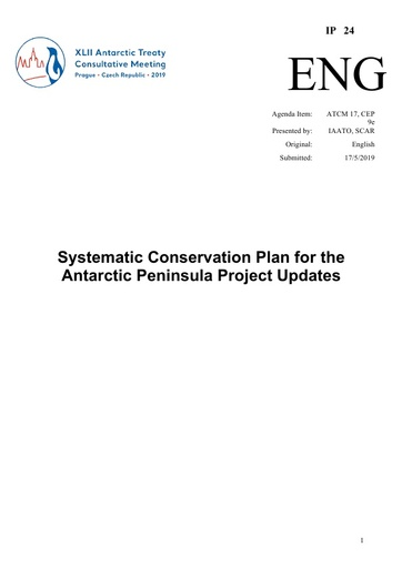 IP024: Systematic Conservation Plan for the Antarctic Peninsula Project Updates