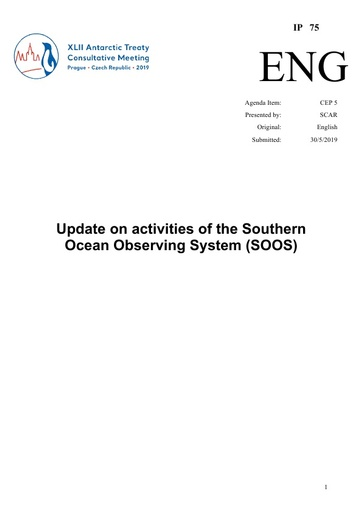 IP075: Update on activities of the Southern Ocean Observing System (SOOS)