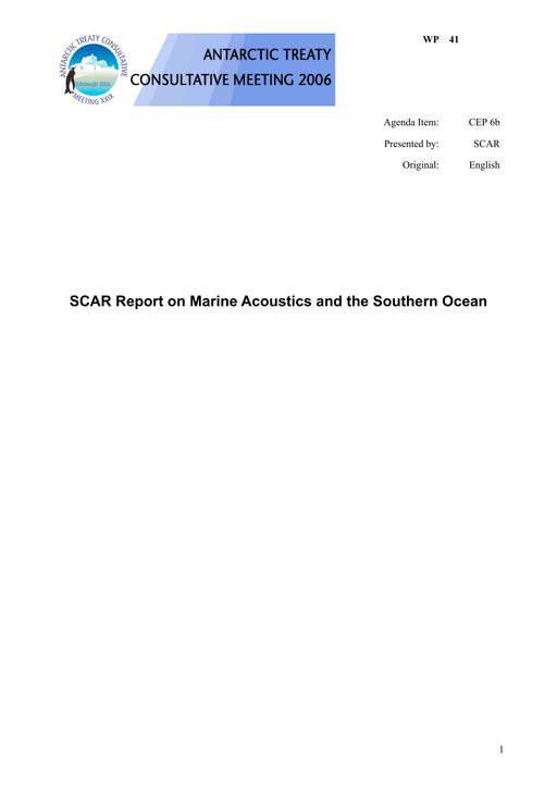 WP041: SCAR Report on Marine Acoustics and the Southern Ocean