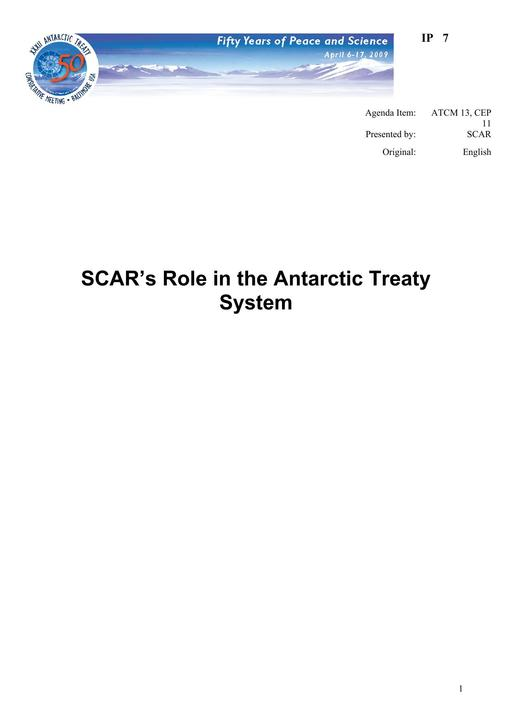 IP007: SCAR's Role in the Antarctic Treaty System