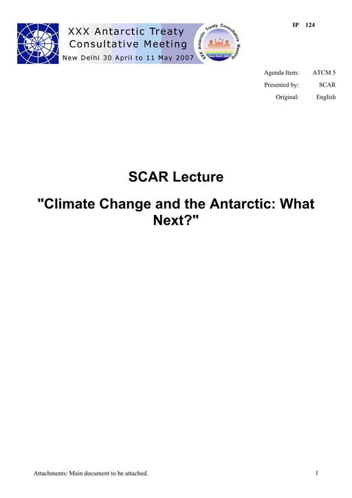 """IP124: SCAR Lecture """"Climate Change and the Antarctic: What Next?"""""""