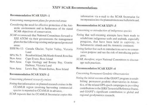 Recommendation SCAR XXIV-3 Concerning the Re-introduction of Indigenous Species