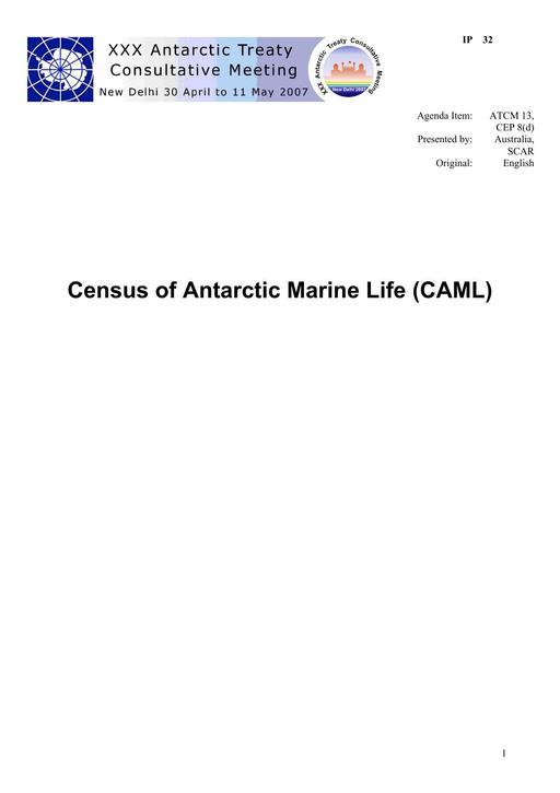 IP032: Census of Antarctic Marine Life (CAML)