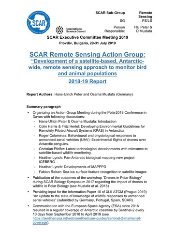 Remote Sensing Action Group Report 2019