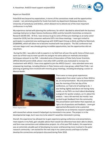 AntEco Polar2018 ECR Testimonials