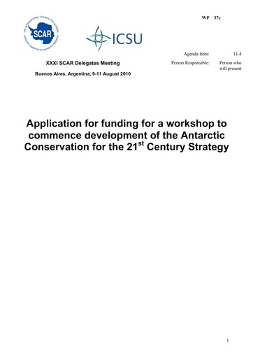SCAR XXXI WP37c: Application for Workshop Funds to Develop Antarctic Conservation for the 21st Century