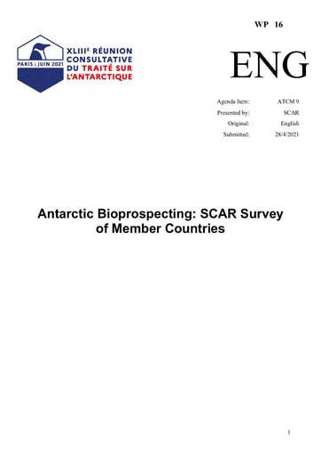 WP016: Antarctic Bioprospecting - SCAR Survey of Member Countries