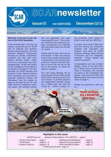 SCAR Newsletter 35 - December 2013