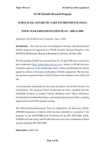 SCAR EXCOM 2005 15b: Implementation Plan of Subglacial Antarctic Lake Environments (SALE)