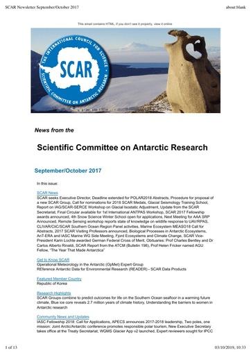 SCAR Newsletter September/October 2017