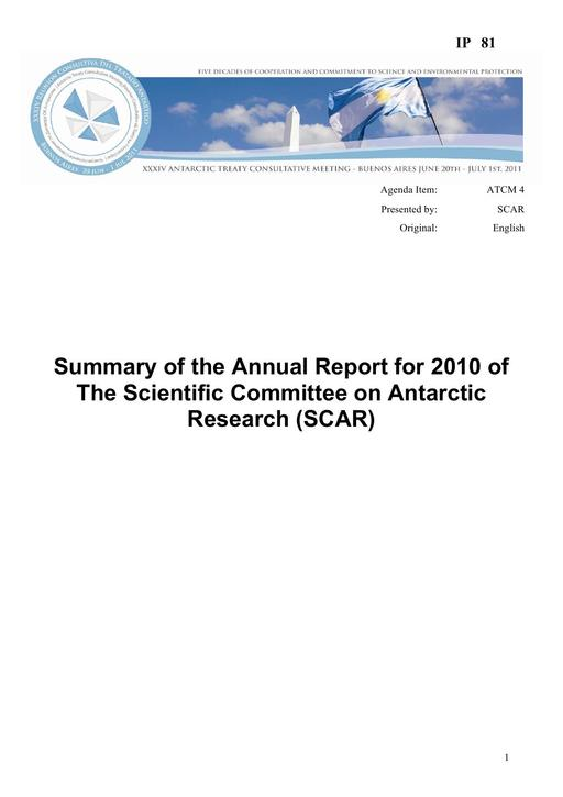 IP081: Summary of the Annual Report for 2010 of The Scientific Committee on Antarctic Research (SCAR)