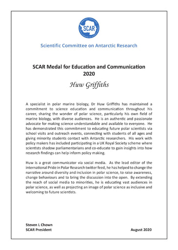 Huw Griffiths - SCAR Medal for Education and Communication 2020