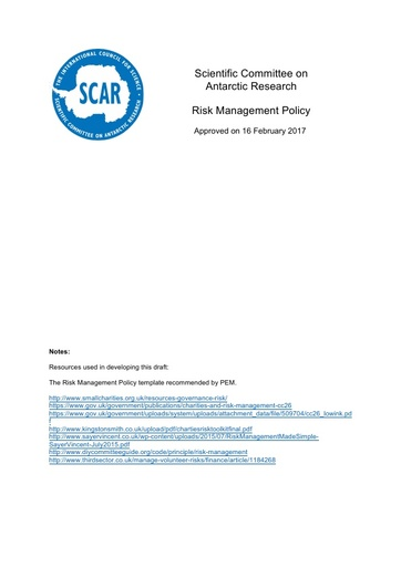 SCAR Risk Management Policy 2017
