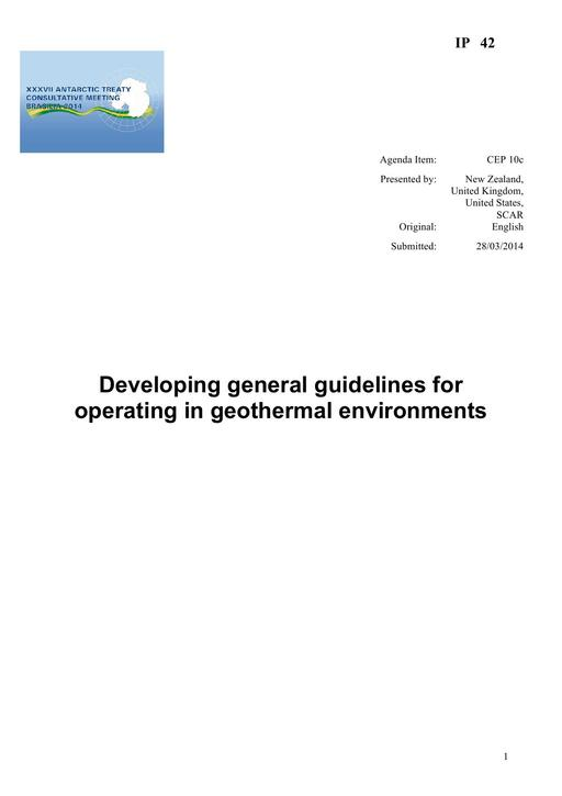 IP042: Developing General Guidelines for Operating in Geothermal Environments