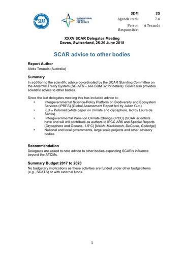 SCAR XXXV WP35: SCAR Advice to Other Bodies