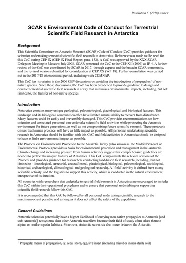 Environmental Code of Conduct for Terrestrial Scientific Field Research in Antarctica