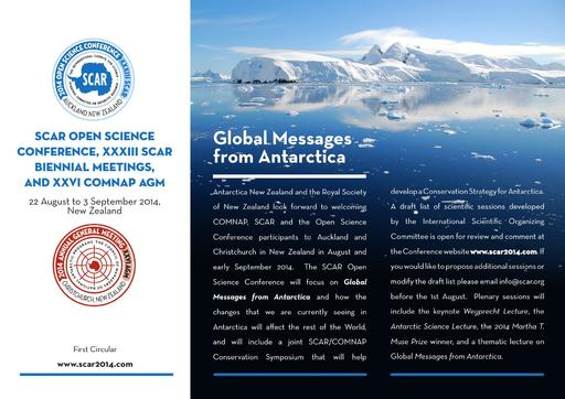 SCAR Open Science Conference 2014 - 1st Circular