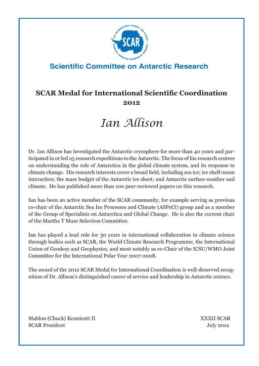 Ian Allison - SCAR Medal for International Scientific Coordination 2012