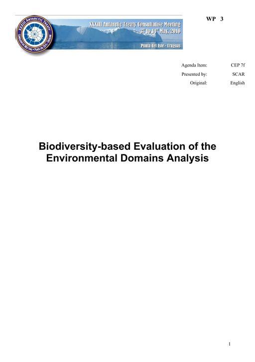 WP003: Biodiversity-based Evaluation of the Environmental Domains Analysis