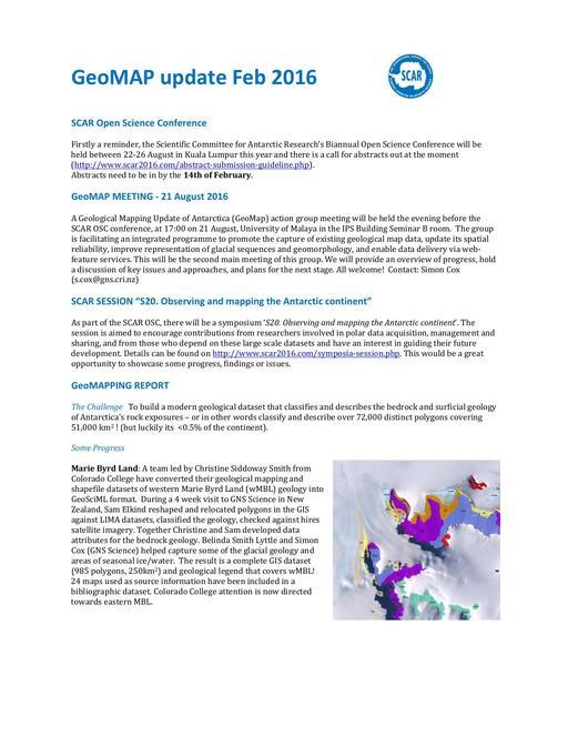 GeoMAP Newsletter - 1 - Feburary 2016