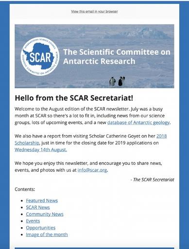SCAR Newsletter August 2019