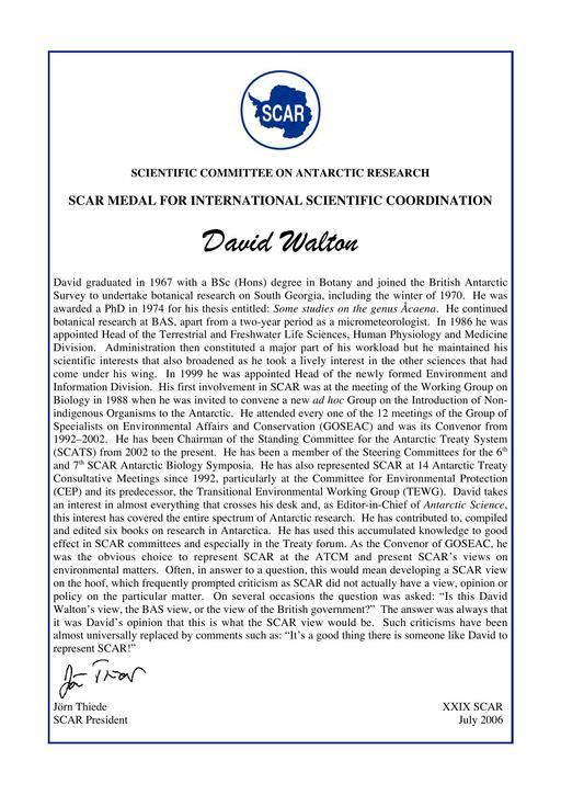 David Walton - SCAR Medal for International Scientific Coordination 2006