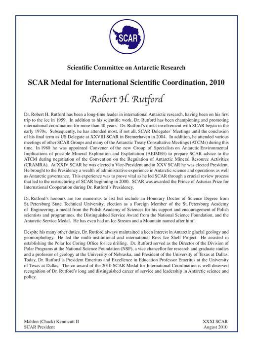 Robert Rutford - SCAR Medal for International Scientific Coordination 2010