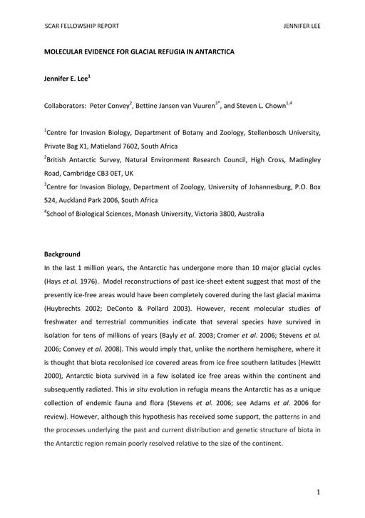 Lee 2009 Fellowship Report
