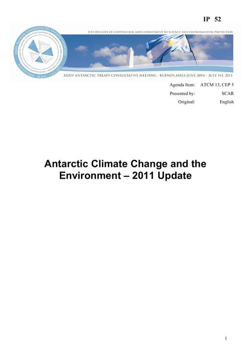 IP052: Antarctic Climate Change and the Environment – 2011 Update