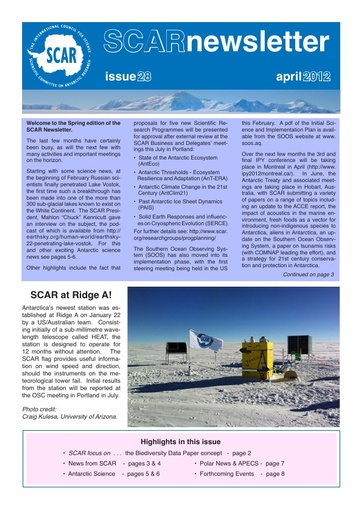 SCAR Newsletter 28 - April 2012
