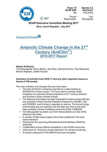 SCAR EXCOM 2017 Paper 10: Report on AntClim21 Activities and Plans