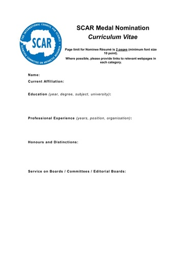 SCAR Medal Nomination CV template
