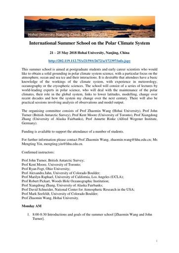 Programme of Summer School 6 Feb 2018