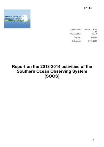 IP014: Report on the 2013-2014 Activities of the Southern Ocean Observing System (SOOS)