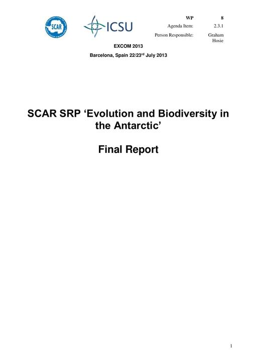 SCAR EXCOM 2013 WP08: Final Report of EBA (Evolution and Biodiversity in the Antarctic)