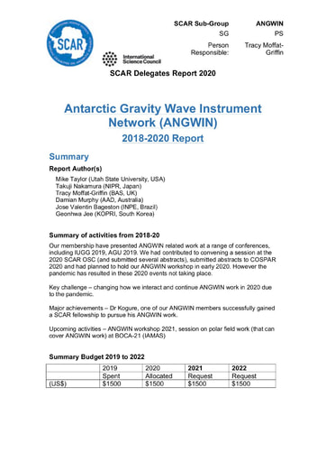 ANGWIN Action Group Report 2020