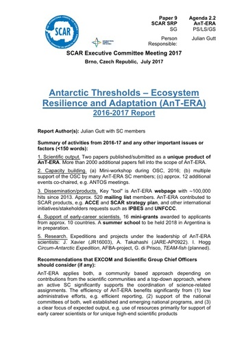 SCAR EXCOM 2017 Paper 9: Report on AnT-ERA Activities and Plans