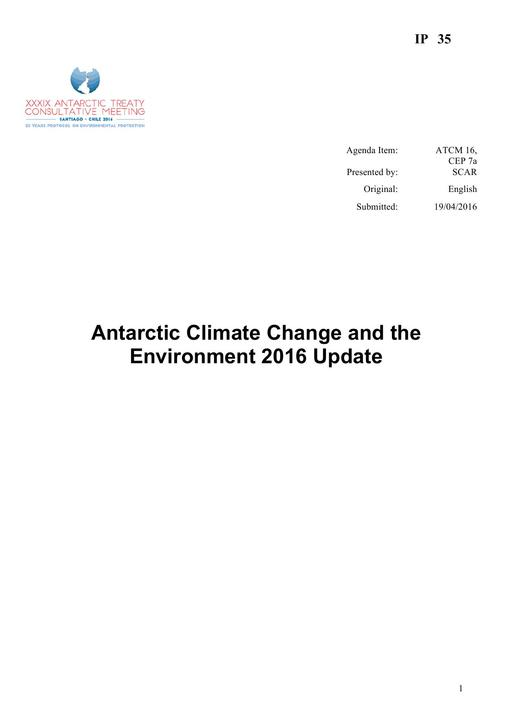 IP035: Antarctic Climate Change and the Environment – 2016 Update