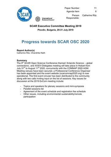 SCAR EXCOM 2019 Paper 11: Hobart 2020 Progress