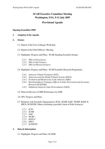 SCAR EXCOM 2007 WP01a: Agenda