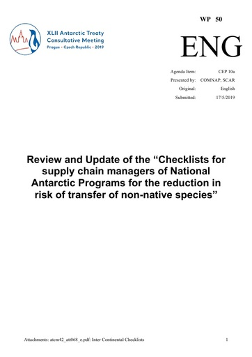 "WP050: Review and Update of the ""Checklists for supply chain managers of National Antarctic Programs for the reduction in risk of transfer of non-native species"""