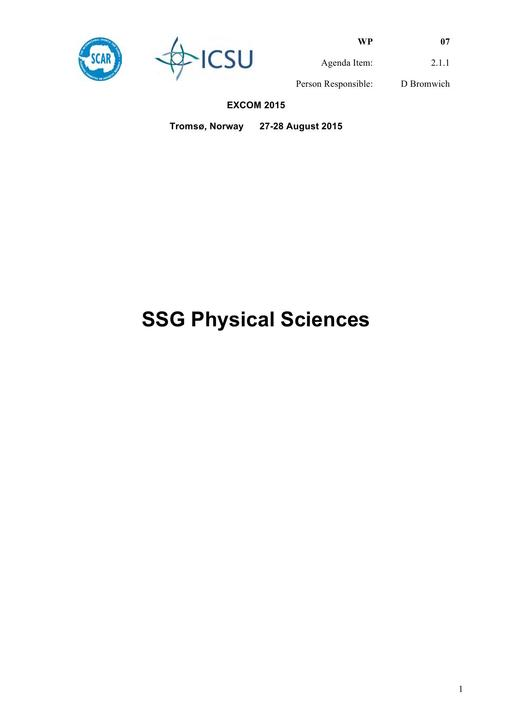 SCAR EXCOM 2015 WP07: Report of the SCAR Standing Scientific Group on Physical Sciences (SSG-PS)
